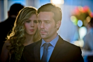 "Arrow -- ""Dodger"" -- Image AR115a_0048b -- Pictured (L-R): Emily Bett Rickards as Felicity Smoak and James Callis as Dodger -- Photo: Cate Cameron/The CW -- © 2013 The CW Network. All Rights Reserved"