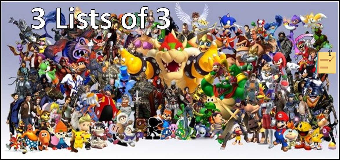 3 Lists Of 3 Video Game Characters